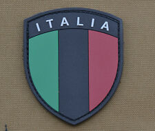 "PVC / Rubber Patch ""Sub. Italian / Italia Flag Shield"" with VELCRO® brand hook"