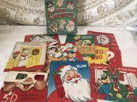 Vintage Mid Century Kids Christmas 9 Ct Cards Unused Fun A Plenty Original Box