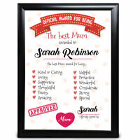 Personalised Mum Christmas Gifts Framed Her Card Mummy Birthday Present Custom