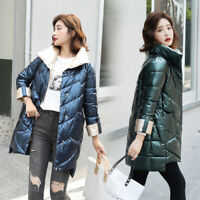 new Women Stand Collar Down Cotton Jacket Shiny Glossy Puffer Outwear Coat