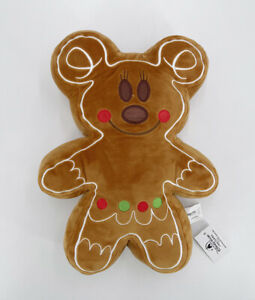 """Disney Gingerbread Man Christmas New Year 12.5"""" Plush Minnie Mouse Pillow 2022"""