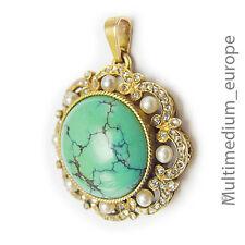 585 14ct Gold Art Deco Anhänger Türkis Diamant Perle pendant tuquoise diamond