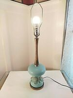 Turquoise Mid Century Table Lamp With Unique Twist On & Off Mechanism
