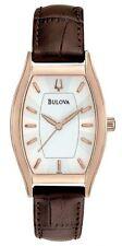 New Women's Bulova 97L114 Silver Dial Tonneau Brown Leather Watch