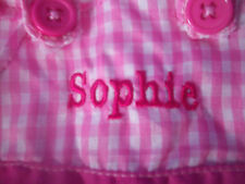 "EASTER BUNNY Plush Rabbit WITH PERSONALIZED DRESS NAME = SOPHIE 14.5""  NEW"