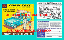 Corgi Toys 447 Walls Ice Cream Van Instruction Leaflet Poster Shop Display Sign