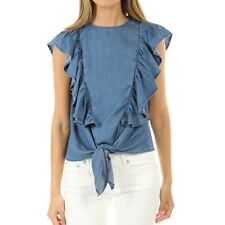 NWT FRAME DENIM KNOT SHORT SLEEVE TOP, size XS, Retail $250