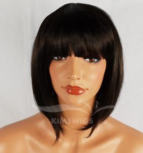 BLACK/DARK BROWN WIG LADIES WOMENS SHORT BOB STYLE FULL HEAD B38 #2 UK SELLER