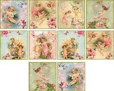 "10 vintage images of fairy angel 2"" cards with envelopes organza bag set 2"