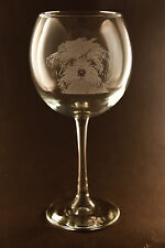 New! Etched Lhasa Apso on Large Elegant Wine Glasses - Set of 2