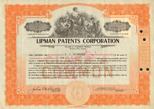 Lipman Patents Corporation > 1930 stock certificate share scripophily