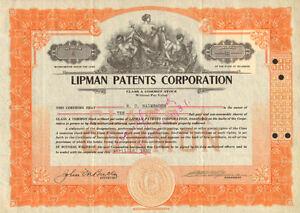 Lipman Patents Corporation > 1930 stock certificate share scripophily
