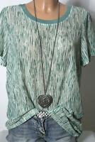 GARCIA JEANS T-Shirt Gr. L grün-weiß Muster Strick Kurzarm Damen T-Shirt
