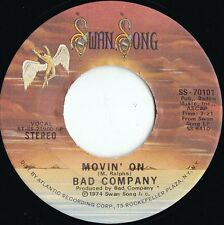 Bad Company ORIG US 45 Movin' on EX '74 Swan Song SS70101 Free Paul Rodgers