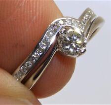 MATCHED PLATINUM SINGLE 0.28CT DIAMOND RING 0.05CT DIAMOND ETERNITY WEDDING BAND