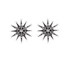 Radiant Star Motif Art Deco Starburst Stud Earring Vintage Silver Crystal Flower