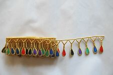 #2220 Gold Trim Fringe w/Gem Pendant,Ruby Embroidery Applique Patch/yard