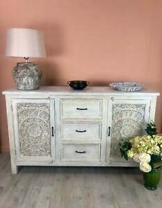 MADE TO ORDER Indian Hand Carved floral shabby chic Sideboard Buffet Vanity 1.5m