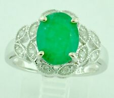 14k Solid White Gold Natural Diamond & Oval Emerald Ring 3.27 ct  cocktail ring