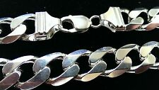 Chain Necklace 15mm Wide Link Solid 925 Heavy 20 inch Sterling Silver Cuban Curb