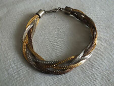 "Beautiful Clasp BraceletGold Silver Copper Tone Twisted 7 1/2 x 1/2"" UNIQUE"
