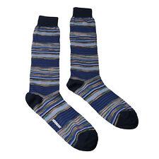 Missoni GM00CMU4658 0002 Blue/Orange Striped Knee Length Socks