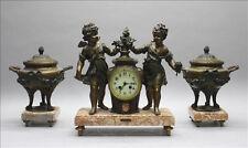 Antique French spelter Bronze clock garniture Vases urns cherubs marked Bruchon