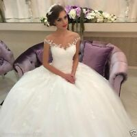 New Lace White/ivory Wedding Dress Bridal Gown Custom Size 6-8-10-12-14-16-18++