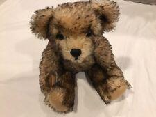 "Mohair Teddy Bear  11"" Brown And Black Signed By Artist Lillian Hahn"