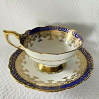 Royal Stafford England Wide Mouth Teacup & Saucer China Cobalt Blue Heavy Gold
