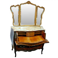 Antique Italian Dresser with Hidden desk Pull out Bombe Vanity Chest tri mirror