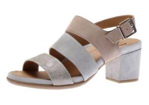 NIB $115 Earth Tierra Heeled Slip-on Grey Multi Metallic Suede Sandals-Sz 10