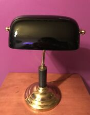 Vintage Brass & Marble Banker's Desk Lamp with Black Glass Shade - 3 Way - Touch