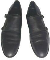 BATA scarpe uomo elegante doppia monk cinghia Nero Tg.43