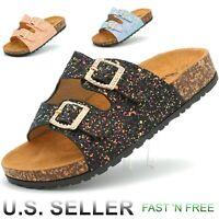 Girl's Cork Summer Sandals Slip-On Shoes Slippers Double Strap Platform Slide