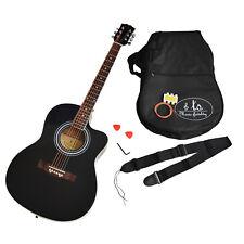 ts-ideen - Guitarra acústica (tamaño 4/4, con accesorios), color negro