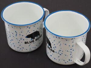 NEW! Blue Bear Outside Metal Camp Coffee Tea Mugs Cups (Pair)