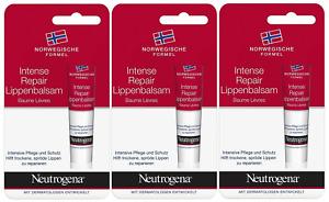 3 X Neutrogena Intense Repair Lip Balm For Dry Cracked Lips 15ml