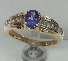 14k yellow gold gemstone Tanzanite 6x4mm oval baggates diamonds 40cttw fine R.