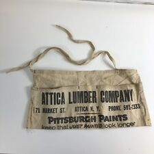 Attica Lumber WNY VTG Tool Belt Apron Nail Pouch Canvas Advertisement Market St