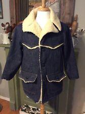 Vintage Sears Roebuck Denim Jean Western Chore Coat Sherpa Lined Jacket Men's