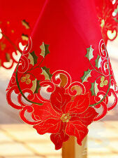 """Red Christmas Table Cloth, Embroidered Cutworks, 135x180cm (54""""x72"""") FFD020"""