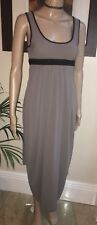 High Use ~ Claire Campbell ~ Elegant Taupe Summer Dress W Black Contrast UK 8