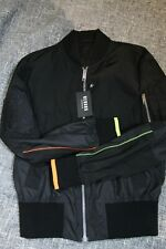 New Versace Versus Mens Black Windbreaker Jacket Coat Neon Accents Italy, Medium