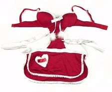 Sexy Valentines Intimates Red White Body Apron Tie Back Lingerie Heart Size M