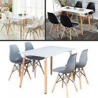 Dining Table and Chair Set White - 4 x Wooden Dining Chairs & White Dining Table