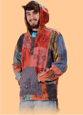 Unisex Patchwork Hoodie with Hand Block Print