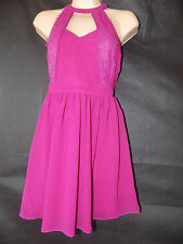 ASOS PETITE Exclusive Skater Dress with Halter Neck and Lace Inserts UK Size 8