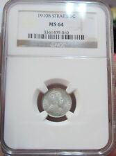 Straits Settlements - 1910 5 cents NGC MS64
