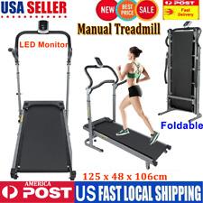 New listing Folding Mini Manual Treadmill Home Gym Training Fitness Treadmill w/ LED Monitor